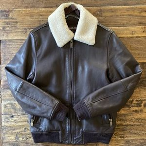 Michael Kors Shearling Collar Leather Jacket